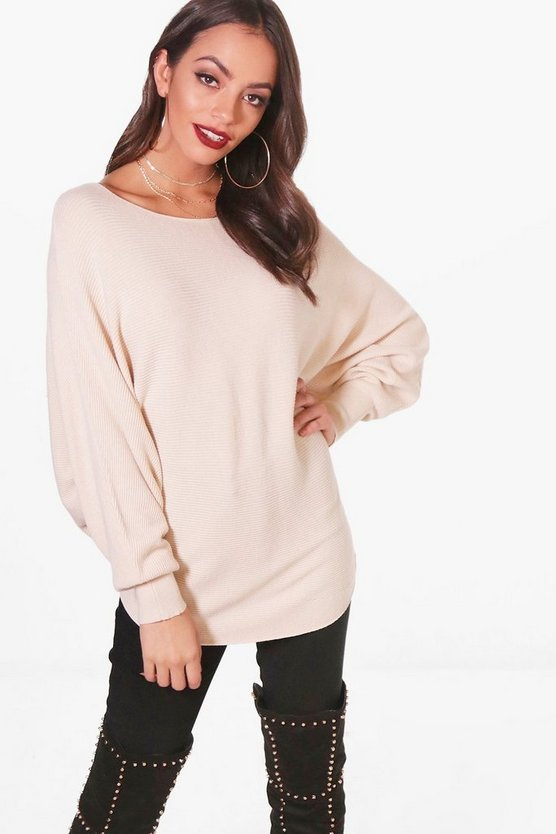 Batwing Rib Knitted Jumper