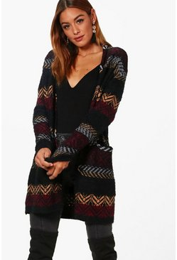 Womens Annie Aztec Fluffy Knit Shawl Cardigan