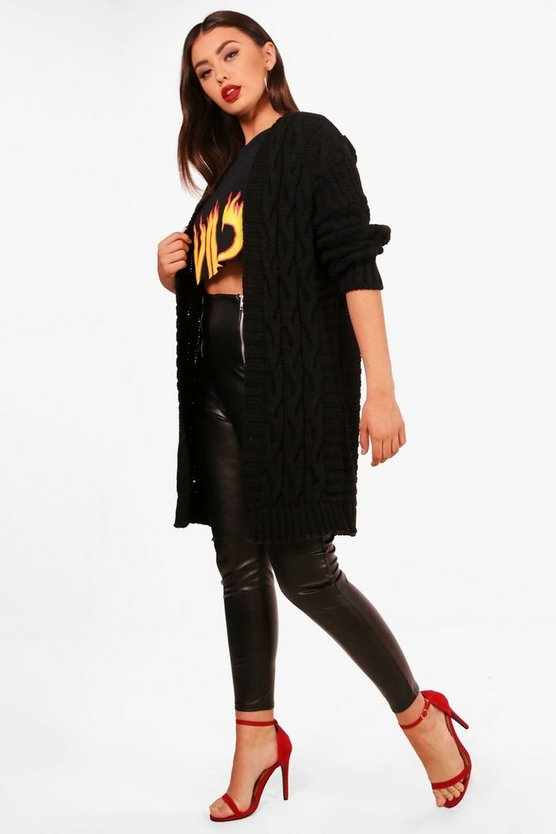 Chunky Cable Knit Cardigan, Black, Donna