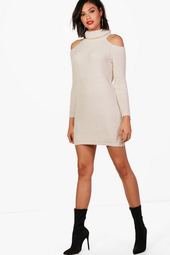 Cold Shoulder Roll Neck Knitted Dress