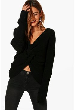 Womens Black Wrap Front Jumper