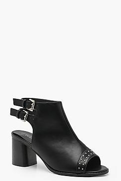 Wide Fit Studded Toe Peeptoe Shoe Boots