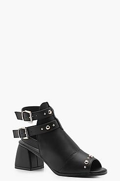 Studded Trim Peeptoe Shoe Boots