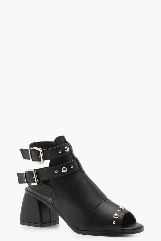 Studded Trim Peeptoe Shoe Boots