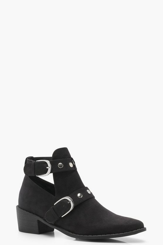 Cut Work Buckle Chelsea Ankle Boots