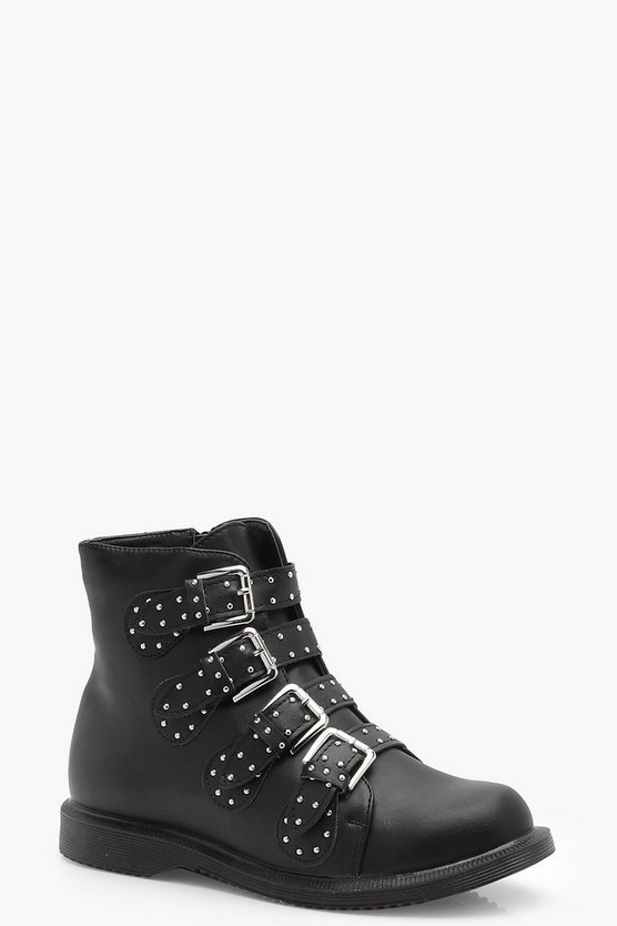 Wide Fit Studded Strap Ankle Boots