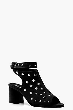 Peeptoe Studded Shoe Boots