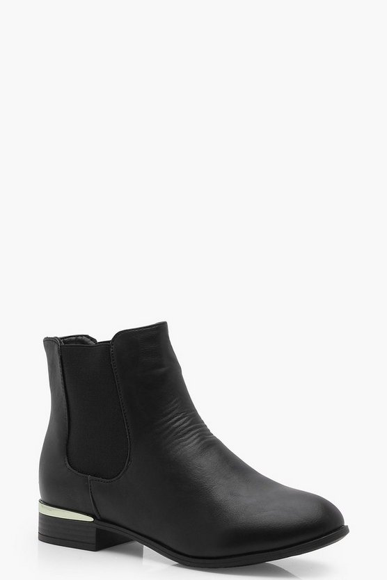 Wide Fit Metallic Trim Chelsea Boots