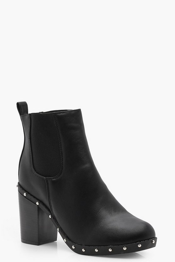 Wide Fit Studded Block Heel Chelsea Boots