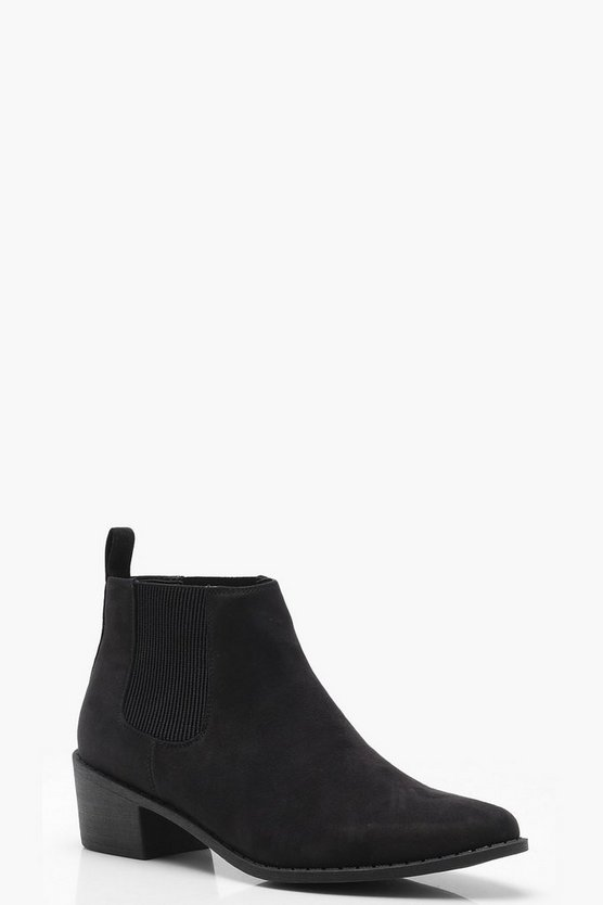 Wide Fit Pointed Toe Chelsea Boots