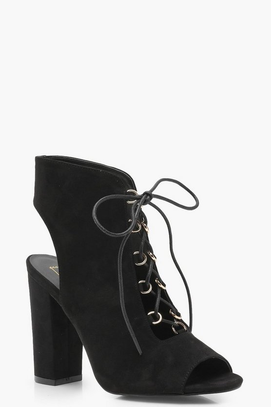 Peeptoe Open Lace Shoe Boots