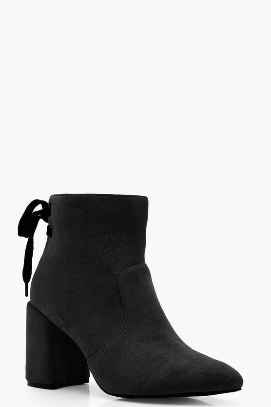 Tie Back Block Heel Shoe Boots
