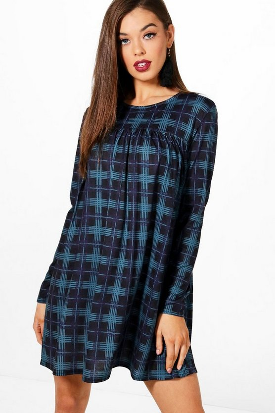 Long Sleeve Check Smock Dress