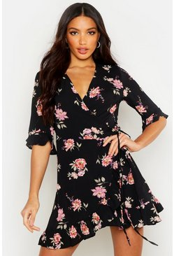Black Floral Woven Wrap Front Tea Dress