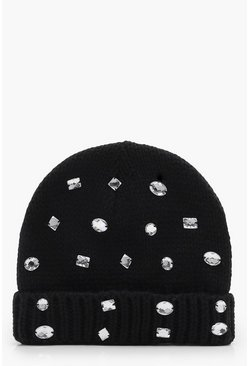 Womens Black Georgia Embellished Beanie