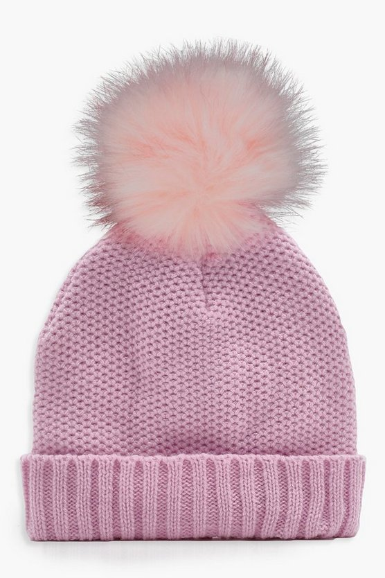 Ella Pretty Faux Fur Knitted Beanie
