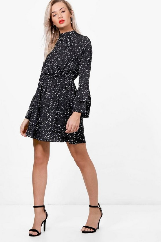 Mary High Neck Flute Sleeve Spot Skater