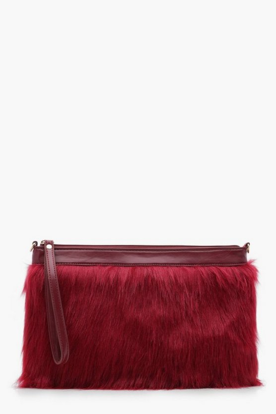 Freya Faux Fur Clutch With Chain