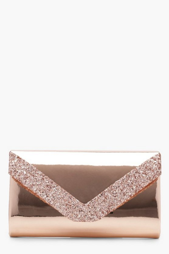 Bolso Clutch con purpurina brillante Super Stacey