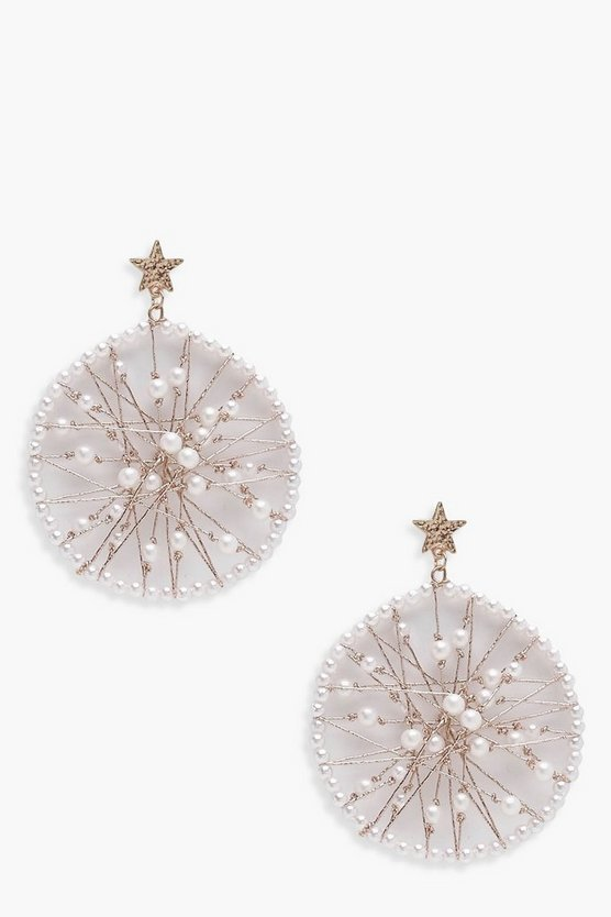 Womens Gold Star Stud Pearl Earrings