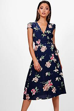 1940s Style Dresses | 40s Dress, Swing Dress Boutique Perrie Micro Ruffle Floral Wrap Dress $49.00 AT vintagedancer.com