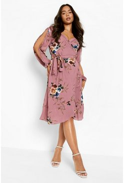 Boutique - Robe cache-cœur florale à manches fendues, Rose