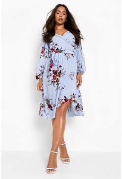 Boutique  Floral Split Sleeve Wrap Dress, Sky