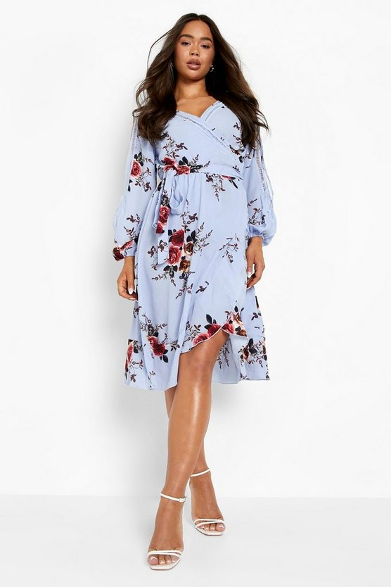 Womens Sky Boutique  Floral Split Sleeve Wrap Dress