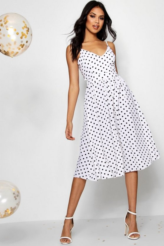 Boutique Polka Dot Midi Skater Dress