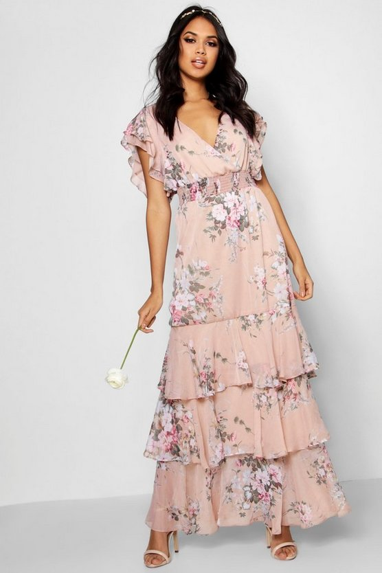 Womens Nude Boutique Vintage Floral Ruffle Maxi Dress
