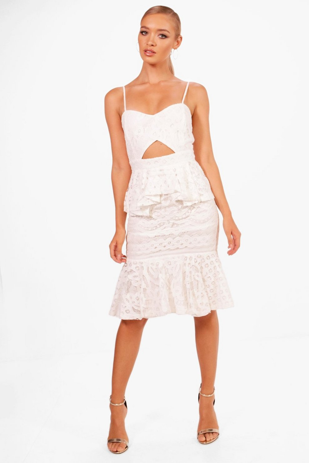 Boutique Lace Peplum Midi Dress | Boohoo