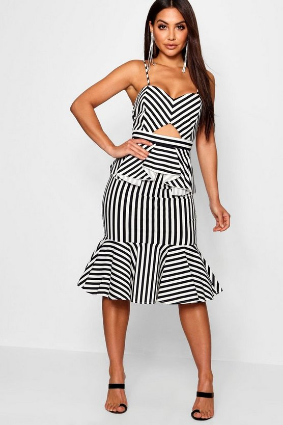 Striped Cutout Hem Detail Midi Dress