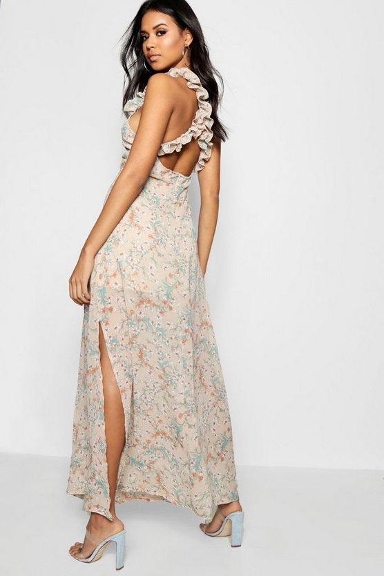 Boutique Ruffle Cross Back Ditsy Maxi Dress