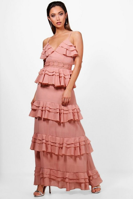 Crochet Waist Ruffle Maxi Dress