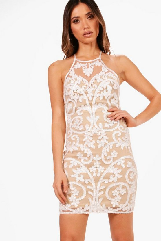 Boutique  Deco Beaded Bodycon Dress