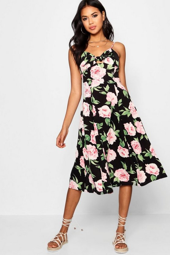 Black Boutique  Knot Front Floral Midi Dress