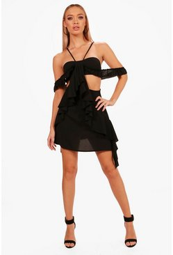 Womens Black Ruffle Cutout Dress