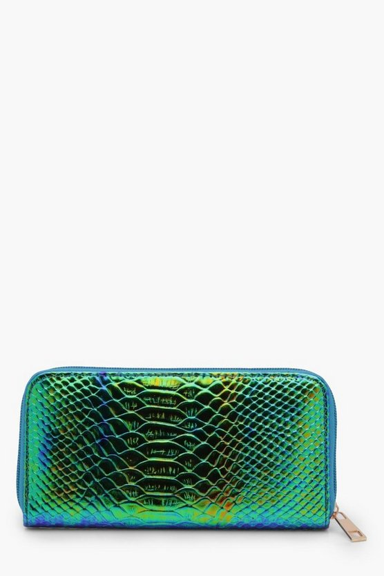 Holographic Faux Snake Mermaid Purse
