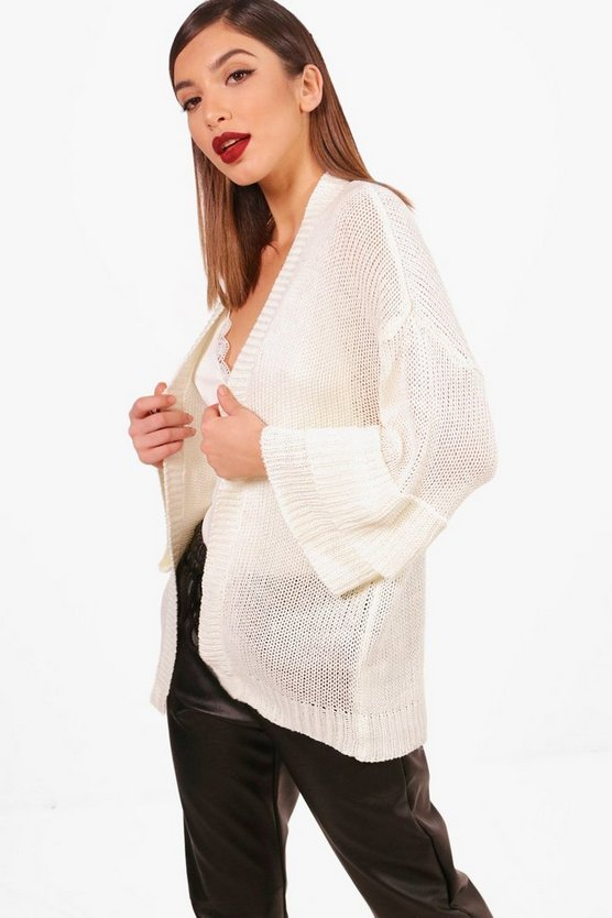Ruffle Sleeve Knitted Cardigan