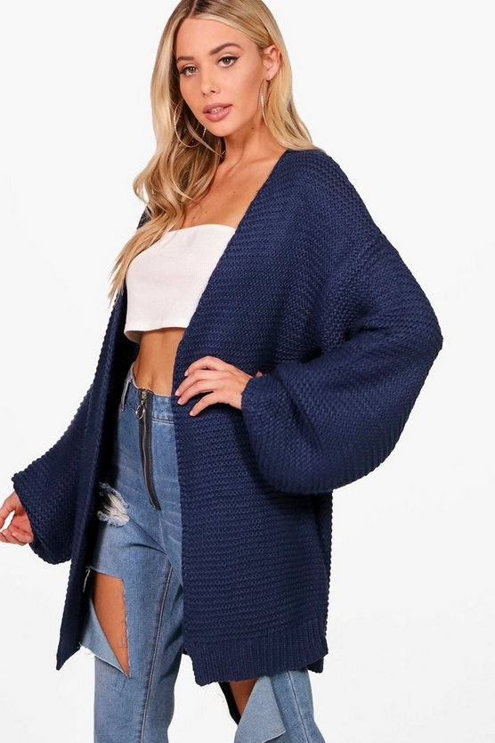 Womens Navy Una Balloon Sleeve Cable Knit Cardigan