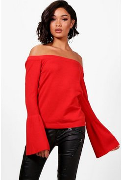 Womens Red Off The Shoulder Flute Sleeve Knitted Top