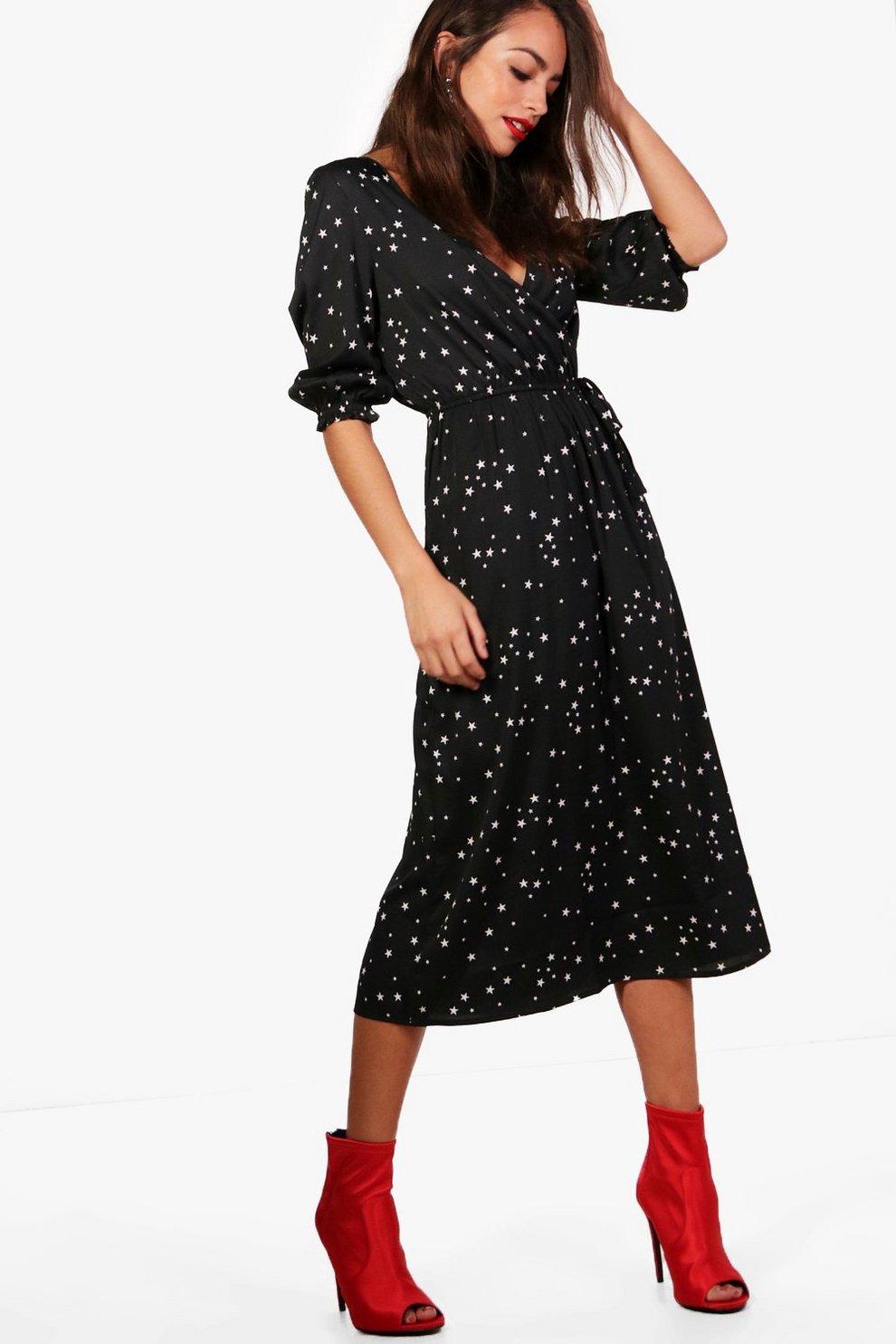 361bb0e10895 Becci Star Print Wrap Midi Skater Dress | Boohoo