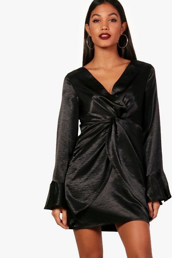 Knot Detail Flute Sleeve Satin Dress