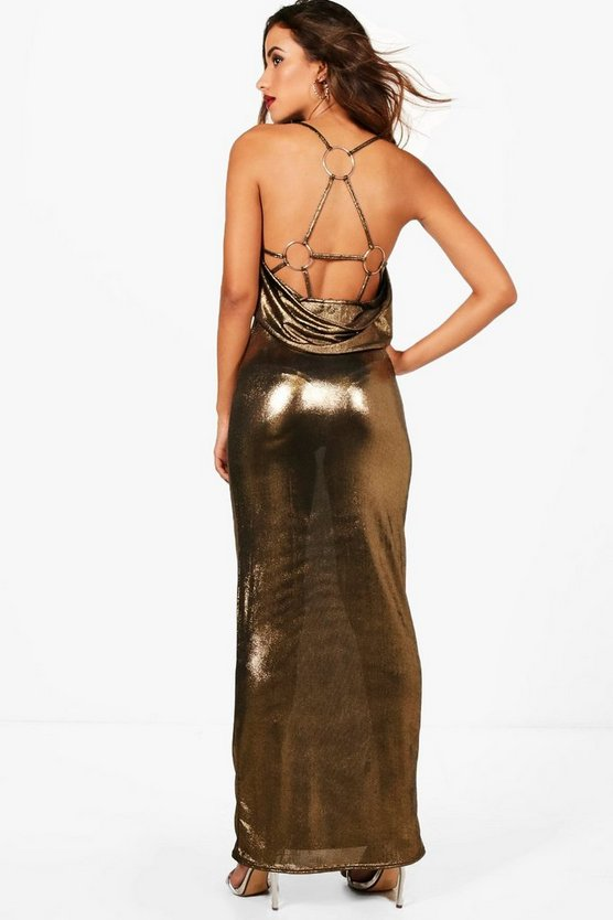 O Ring Back Detail Metallic Maxi Dress