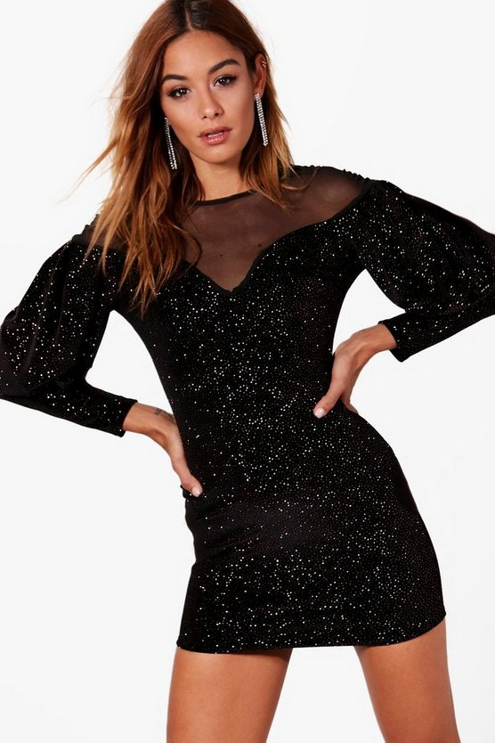 Glitter Velvet Mesh Yoke Mini Dress