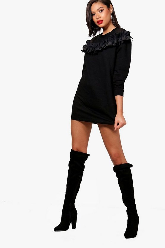 Womens Black Woven Ruffle Front Sweat Dress