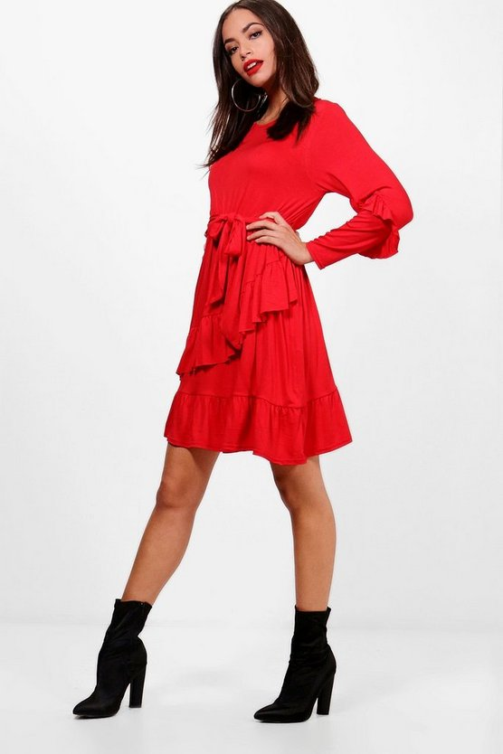 Micro Frill Belted Skater Dress