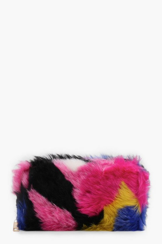 Amy Multi Colour Faux Fur Purse