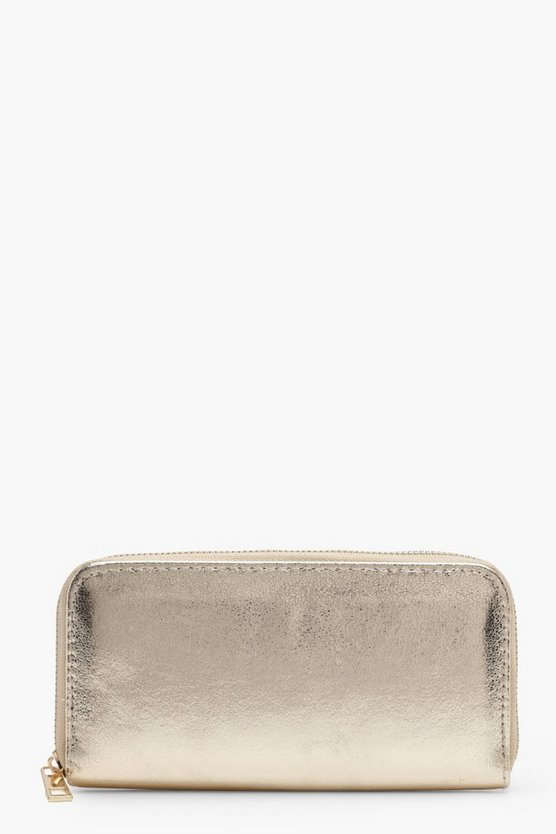 Womens Gold Yasmin Metallic Ziparound Purse