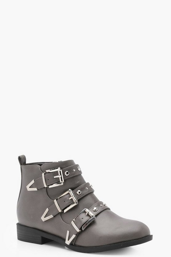 Studded Strap Chelsea Ankle Boots